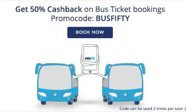 Discount coupons on bus booking paytm