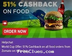 Helpchat Flat 51% cashback on online food order from Zomato