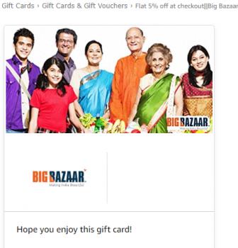 Flash Sale : Flat 5% off on BigBazaar Gift Cards (Valid till 9 PM)