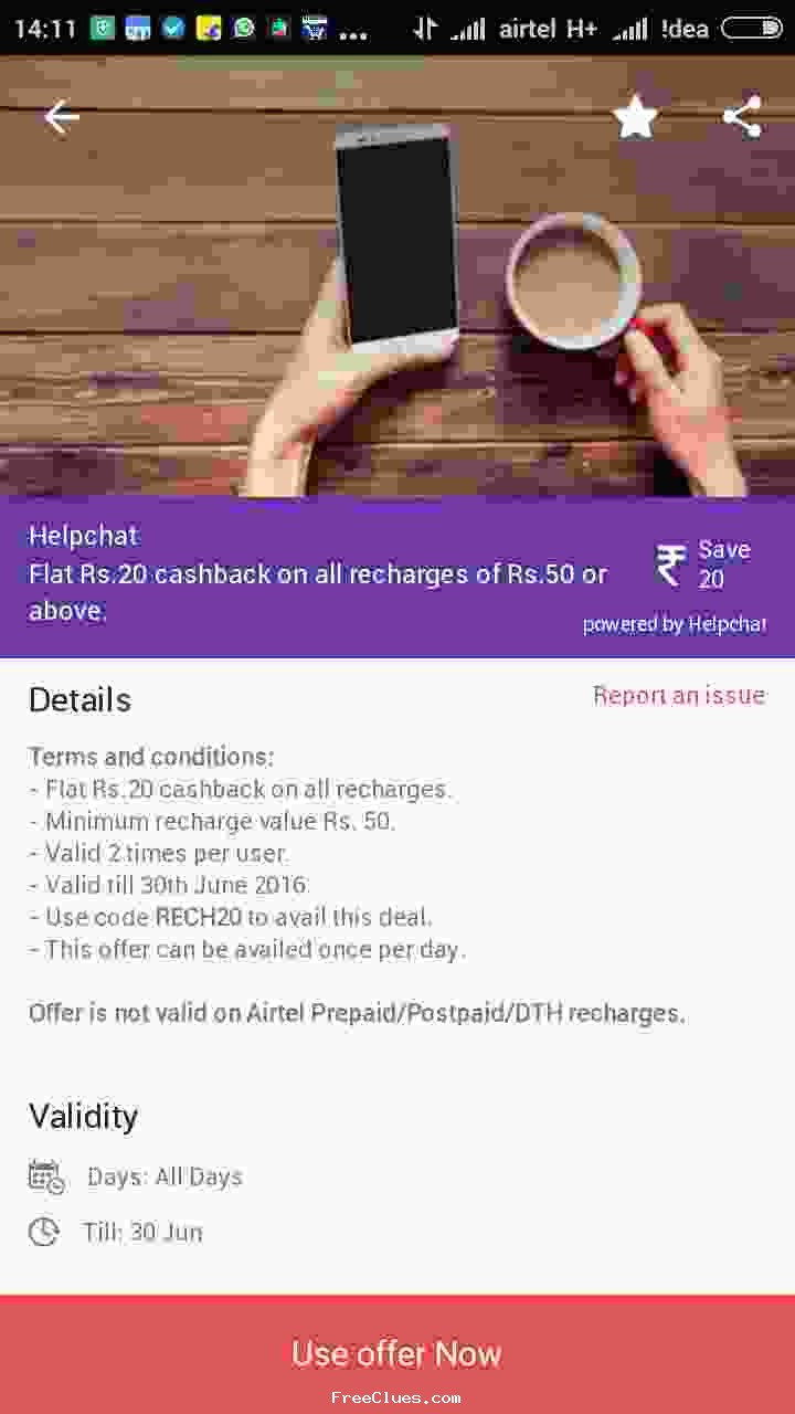 Helpchat 5% cashback on all Data Pack recharges