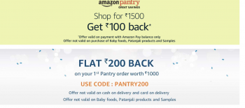 Amazon Amazon Pantry - Flat 50% off on Grocery and Beauty Items ( Apply Coupon to get 50% off ) + Additional Rs.150 Cashback on Rs.1500 order