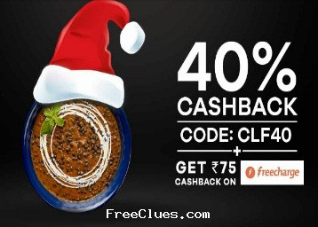 Faasos offer : Flat 40% Off + Rs. 100 On Sign Up + Rs. 75 Cashback From Freecharge