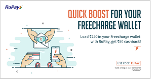 Freecharge Get Rs 50 Cashback on Add Money Rs 250 with Rupay