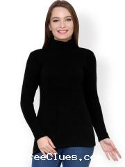 f74cf3778c04 Myntra Flat 55% Off on Women Renka Black Sweater Apr 2019