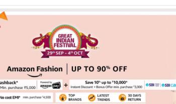 Amazon Fashion Bazaar Hdfc Cashbck freedom sale