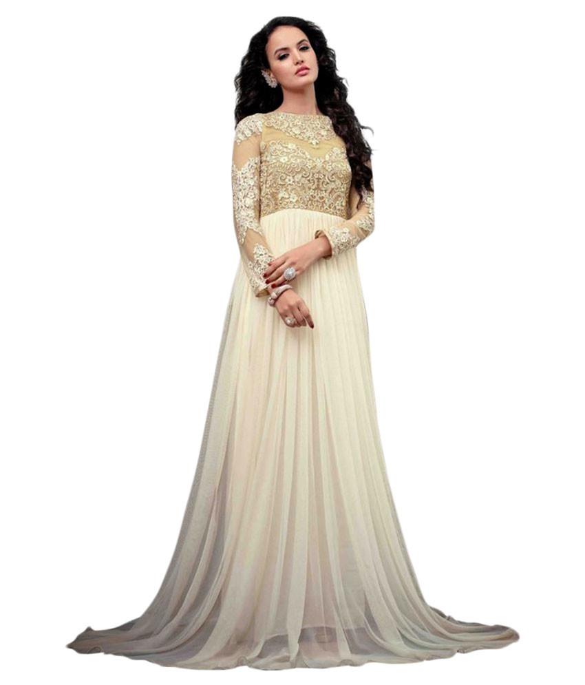 Snapdeal Fashion World White Net Anarkali Gown Semi Stitched Dress