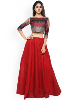 4921d58ff38 Myntra Inddus Red   Grey Semi-Stitched Lehenga Choli May 2019 ...