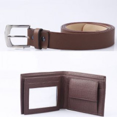 Hdecore pack of 2 combo 1 Brown Belt And 1 Purse (Black or Brown ) men