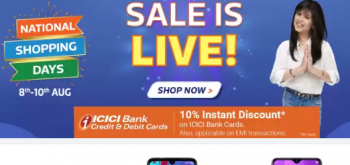 Flipkart Big National Sale 8-10 august + 10% Discount ICICI BANK