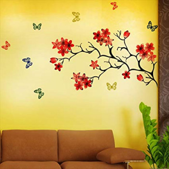 Shopclues New Way Decals PVC Multicolor Floral Chinese Flower With Butterfly Rs 99/-