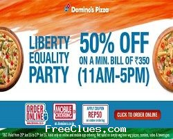 Dominos coupons 50 off india