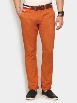Abof Men Rust Red Slim Fit Overdyed Stretchable Chinos