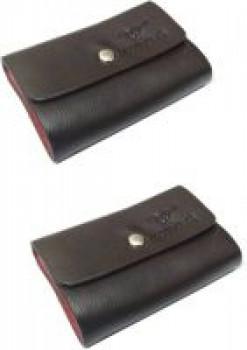 Billionbag Pack of 2 Black Card Holder Leather Business Card Holder Credit Card Holder Case Card 24 Card Holder(Set of 2, Black)