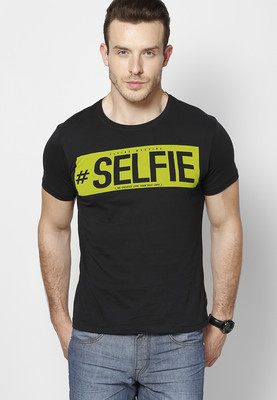 fb87a575 Flying Machine Black Round Neck T-Shirt with selfie text at rs. 699 ...