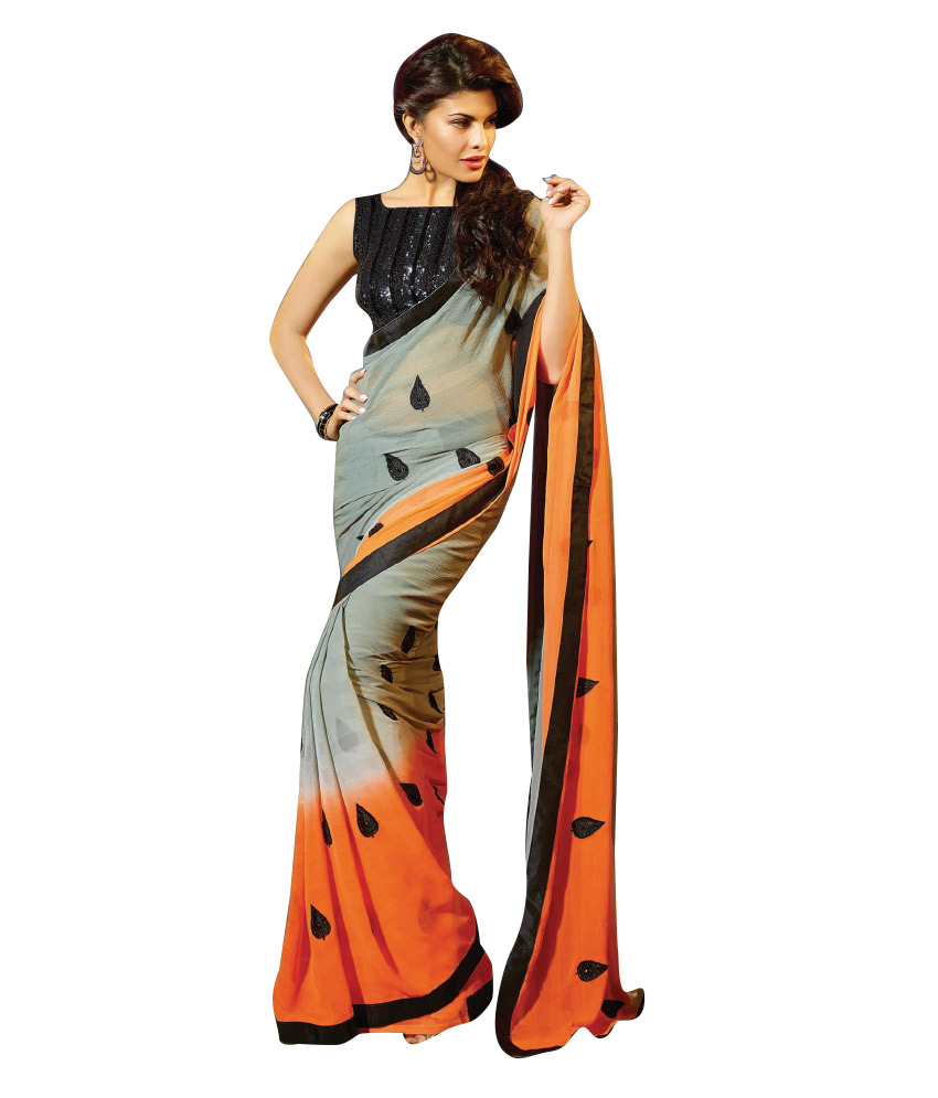 3a5a59d52a3 Snapdeal Saree sale   Mutiar Orange Faux Georgette Saree at 80% off ...