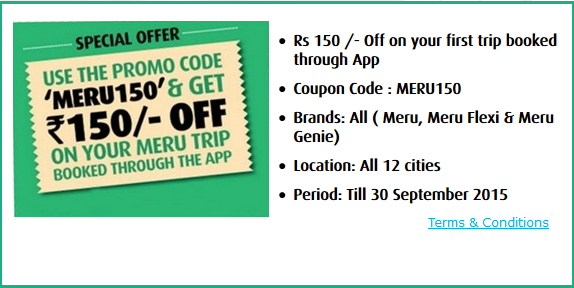 1 Meru Cabs Offer Available