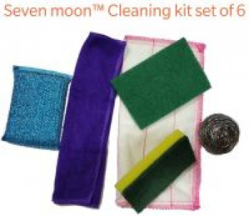 Seven Moon Kitchen Washing Scrubber,Still Scrubber,Sponge Scrub pad, Foam pad,Cloth 5+1 Set Cleaning Kit